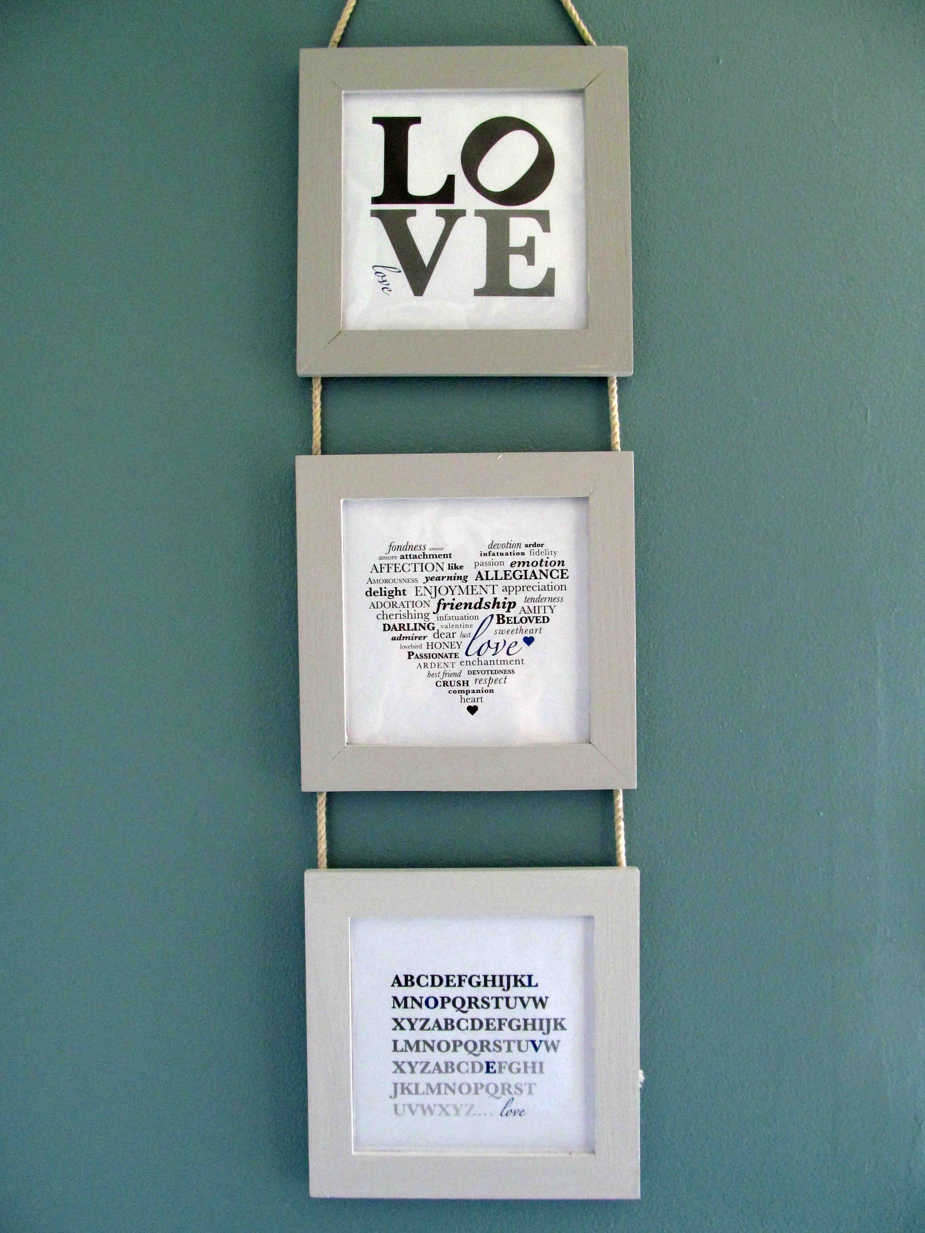 i designed five love prints total but i picked my favorite three for the frame