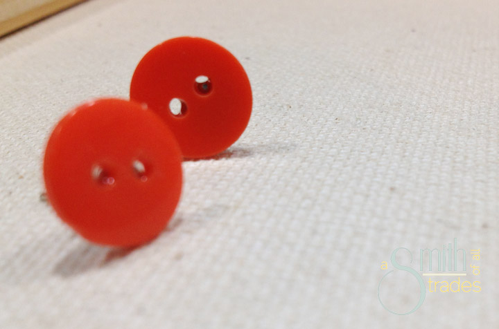 orange button earrings