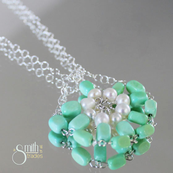 {A Smith of All Trades} Green Turquoise and Pearl Necklace