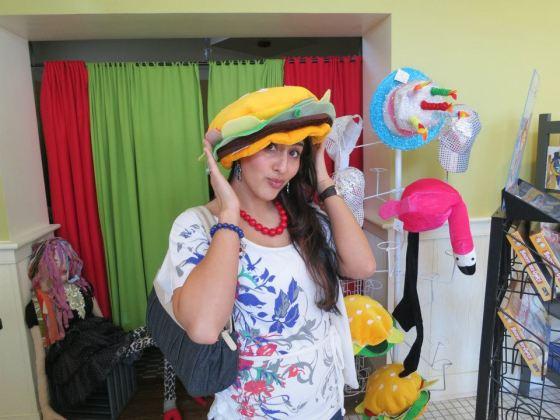 Allie in burger hat