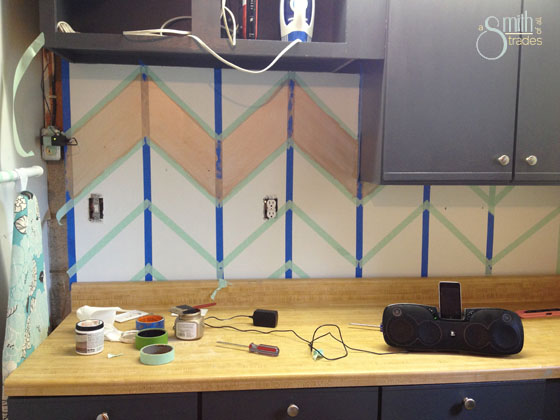 {A Smith of All Trades} Chevron wall taped up