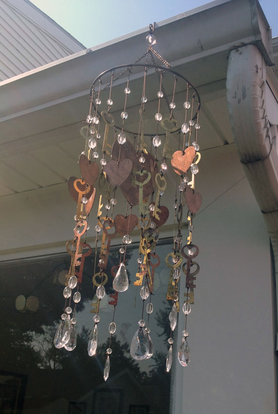 Key and crystal wind chime a smith of all trades for Art made with keys