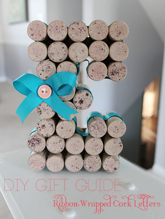 Ribbon Wrapped Cork Letters