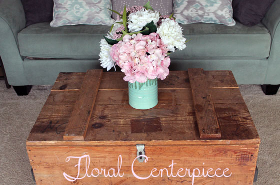 Flowers on crate