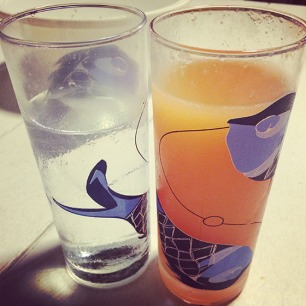 Mimosa and water
