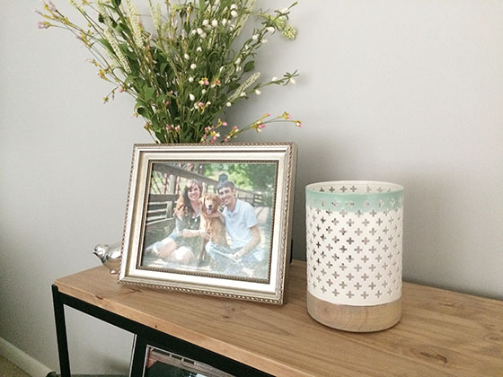 White and mint candle holder