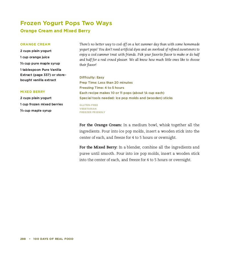 Frozen Yogurt Pops recipe
